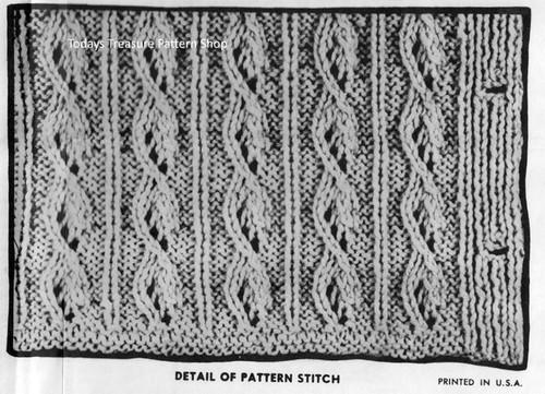 Cable Jacket Pattern Stitch Detail, Design 710