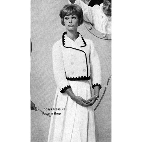 Knitted Double Breasted Short Jacket Pattern, Vintage 1960s
