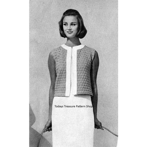 Short Knitted Jacket Pattern with Open Front