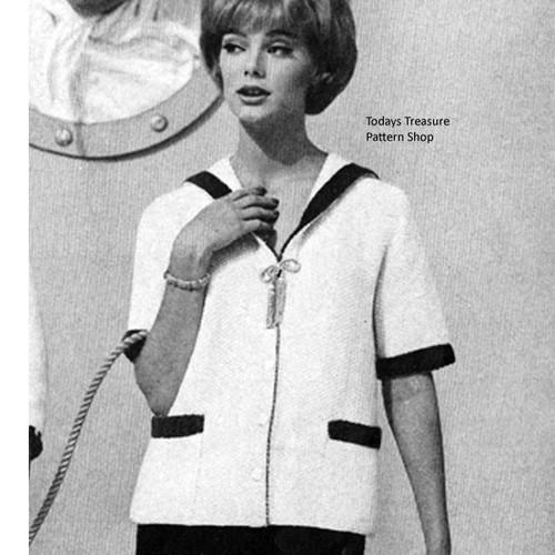 Knitted Sailor Cardigan Knitting pattern, Vintage 1960s