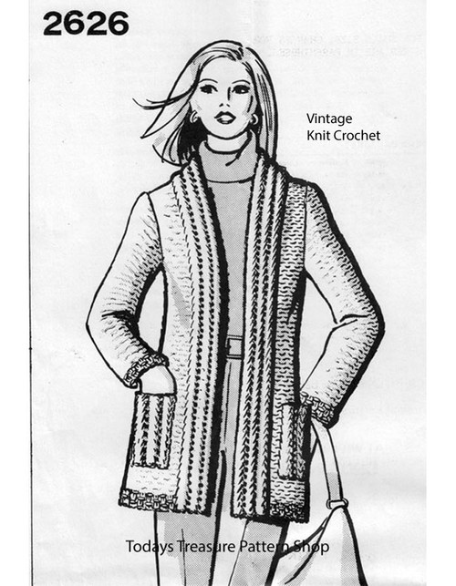 Long Cardigan Knitting Pattern, Mail Order 2626