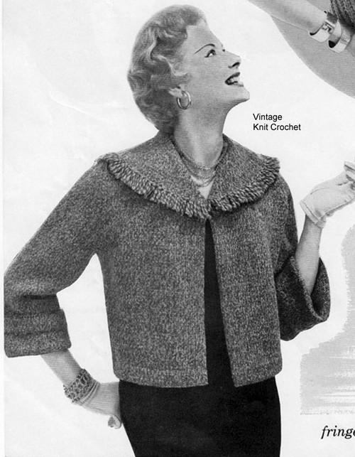 Knitted Jacket Pattern, Short, Fringed Collar