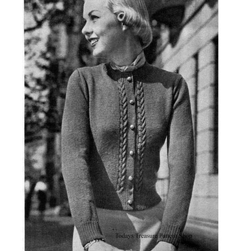 Knitting Pattern, Vintage Cable Cardigan Pattern