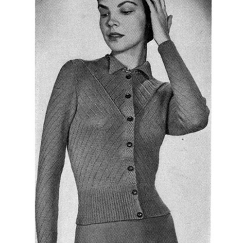 Openwork Knitted Sweater Blouse pattern, Vintage 1950s