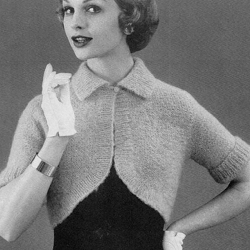 Vintage Collared Shrug Knitting Pattern