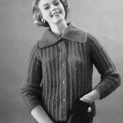 Vintage Knitting Pattern for Bulky Collared Cardigan