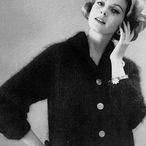 Vintage V-Neck Cardigan Mohair Knitting pattern