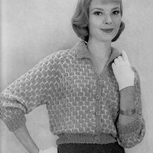 Vintage Honeycomb Knitted Blouse pattern