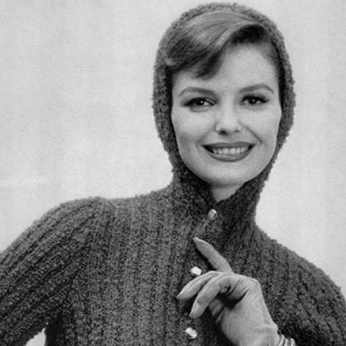Hooded Jacket Knitting Pattern, Vintage 1950s