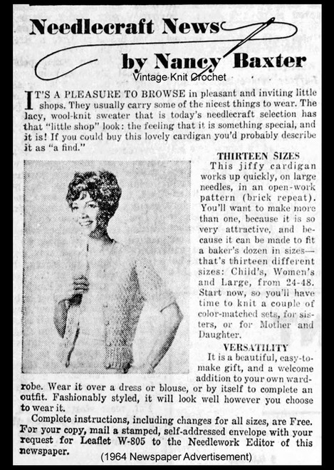 Nancy Baxter Jiffy Knit Cardigan Promotion for W-802