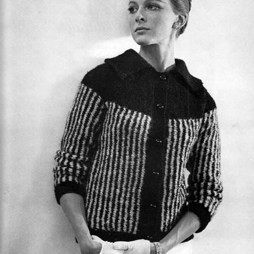 Knitting Pattern Striped Cardigan, Vintage 1950s