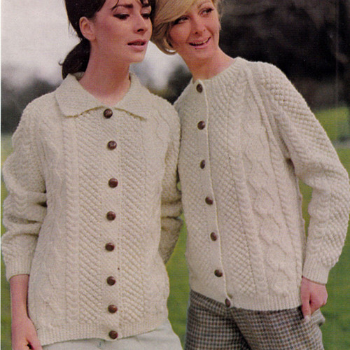 Knitting Pattern for Misses Jackets in Popcorn and Cable Sttich