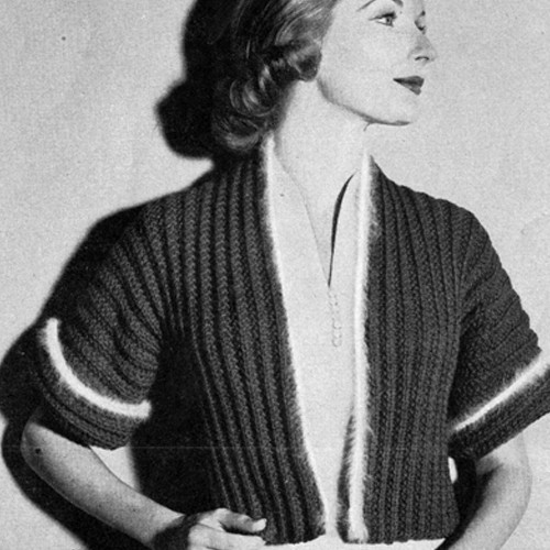Knitting Pattern Vintage Bolero Pattern with Contrast Stripe