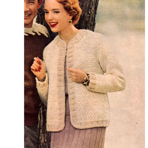 Knitted Jacket Pattern with trimmed open front