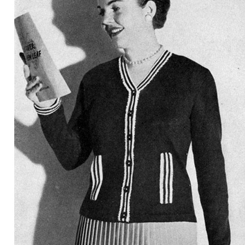 Vintage Womans Knitted Cardigan Pattern