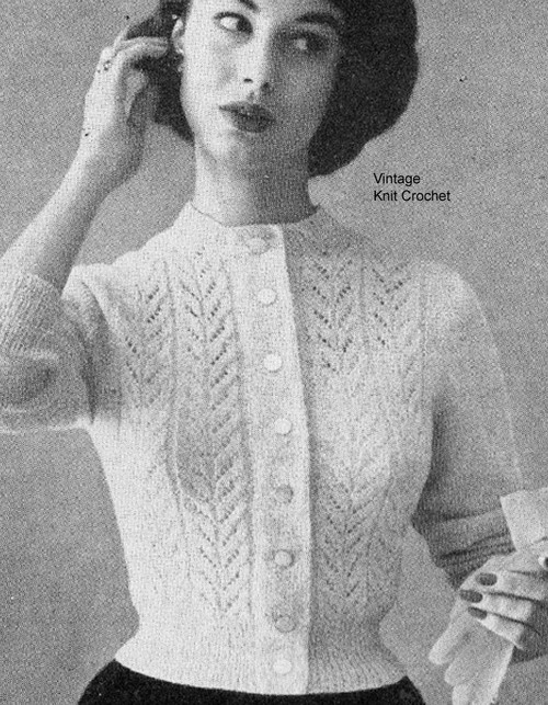 Lace Cardigan Knitting Pattern in half sizes