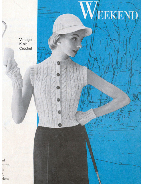 Vintage Sleeveless Top Pattern, Cable Stripes