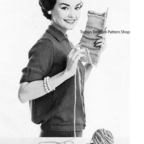 Knitted Jan Cardigan Pattern, Vintage 1960s