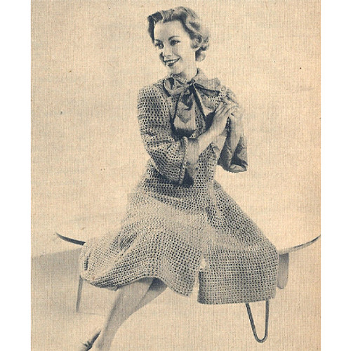 Long Knitted Coat Pattern with Ribbon Ties