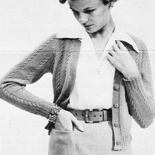 Cabled Cardigan Knitting Pattern, Vintage 1950s