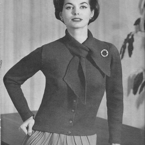 Tie Collar Vintage Knit Jacket Pattern