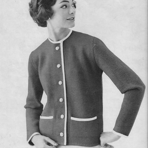 Contrast Trimmed Jacket Knitting Pattern, Vintage 1950s