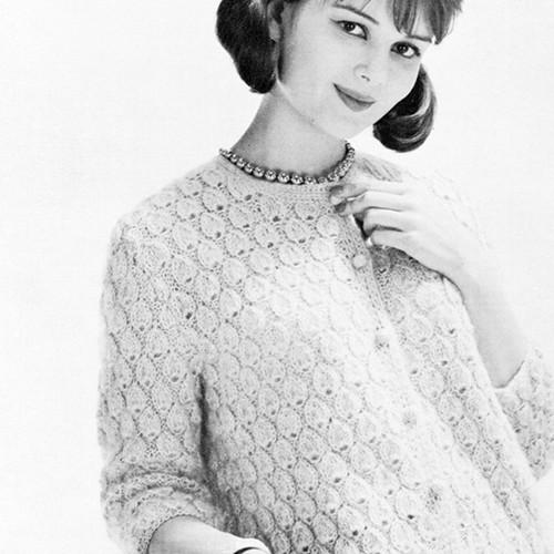 Vintage Knitting Pattern Textured Cardigan