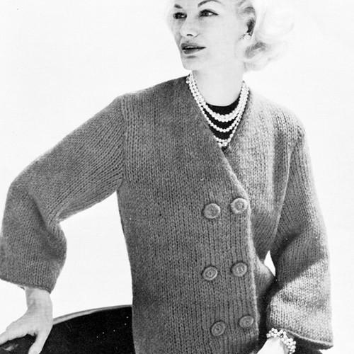 Vintage Double Breasted Jacket with V-Neckline