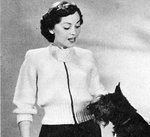 Vintage 1950s's Quick and Easy Cardigan Knitting Pattern