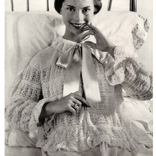 Vintage Knitted Lace Bed Jacket Pattern with Ribbon Ties