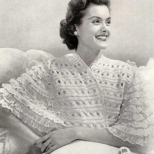 Bernat Knitted Lace Bed Jacket Pattern