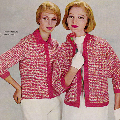 Vintage 1960s Checked Cardigan Knitting Pattern