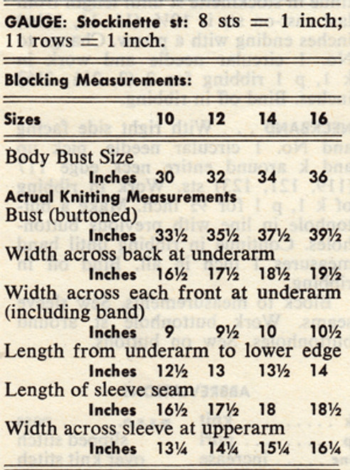 Size Measurement Chart for Knitted Cardigan