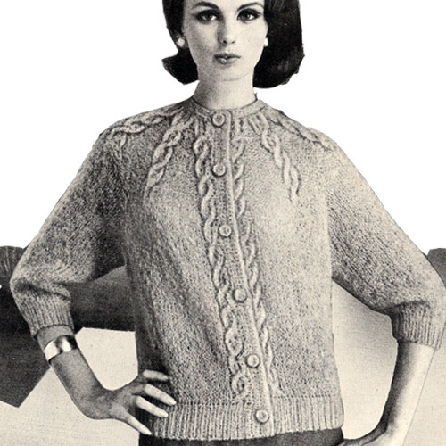 Knitted Cardigan Pattern with Sunburst panels