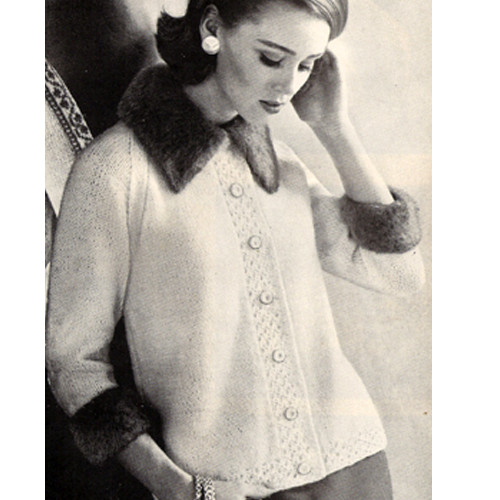 Elegant Knitted Cardigan Pattern with Mohair Trim