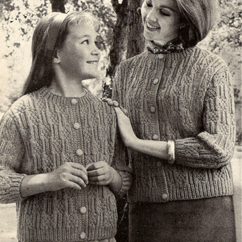 Textured Cardigan Knitting Pattern for Mother Daughter