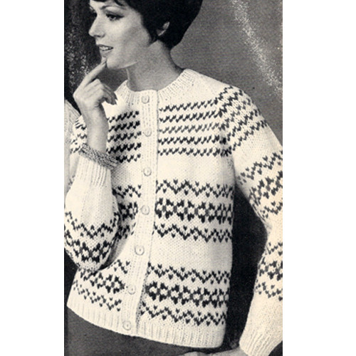 Misses Knitted Cardigan in Mexican Stripes