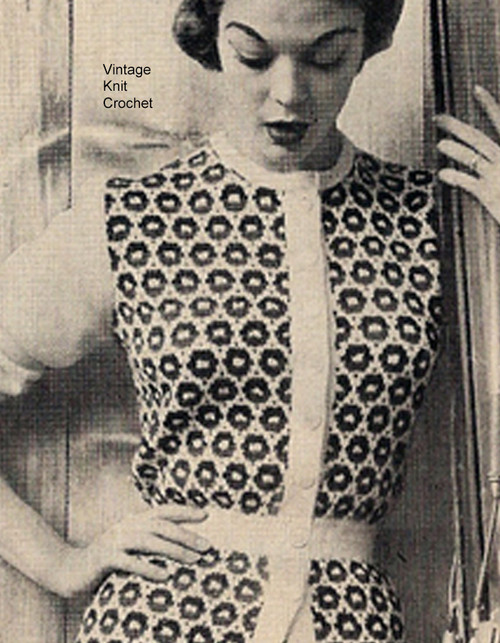 Knitted Tunic Blouse Pattern, Colorful Mosaic Motif