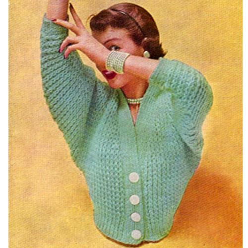 Vintage Knitting Pattern for Waist Length Bat Wing Cardigan