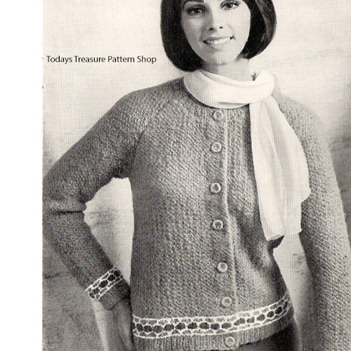 Vintage Knitting Pattern for buttoned cardigan