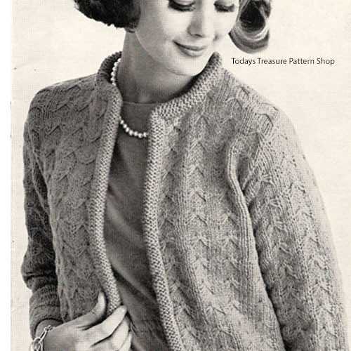 Knitting Pattern Womans Cardigan, Plus Size
