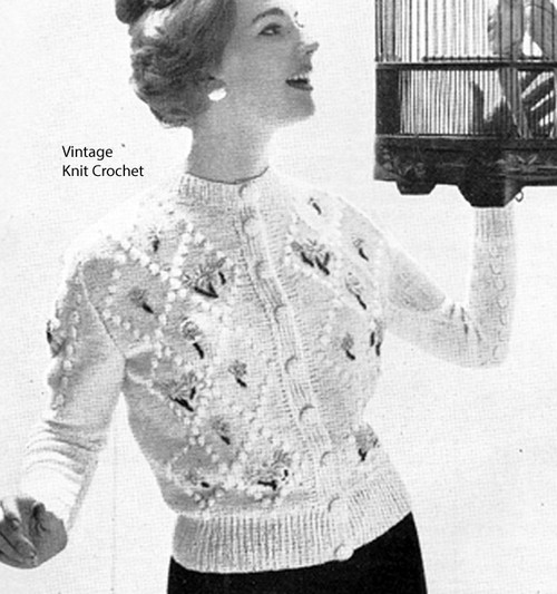 Knitted Sweater Pattern, Floral Embroidery