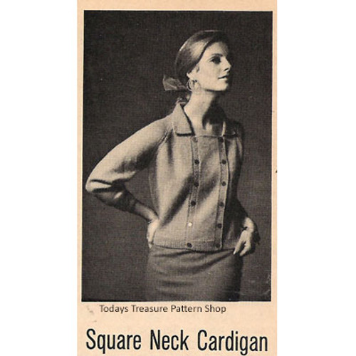 Knitting Pattern Square Neck Cardigan with Collar