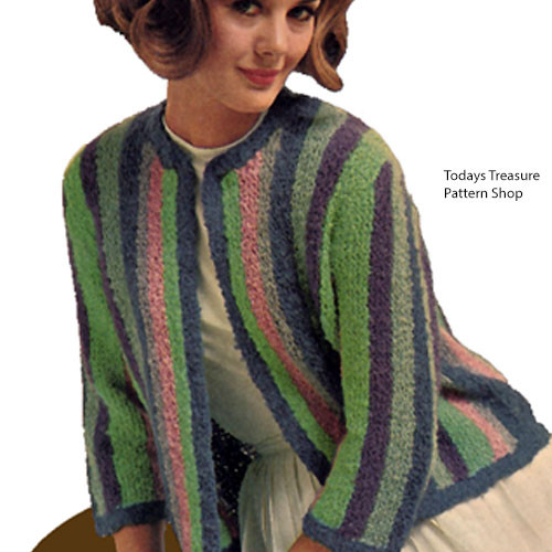 Striped Cardigan Knitting Pattern with open front