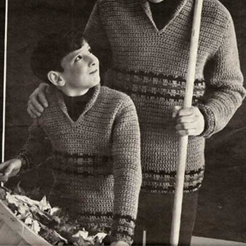 Father Son Matching Crochet Pullovers