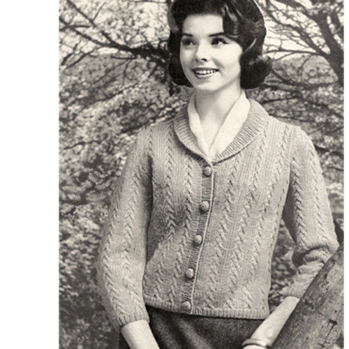 Collared Cardigan Knitting Pattern, Waist Length