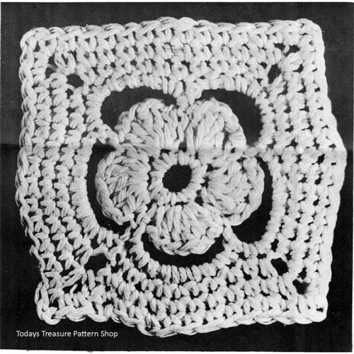 Square Crochet Medallion for Rugs pattern