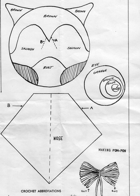 Layout Diagram for Crochet Owl Pattern