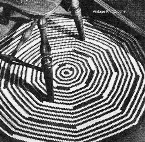Striped Crochet Rug Pattern, Octagon Shaped