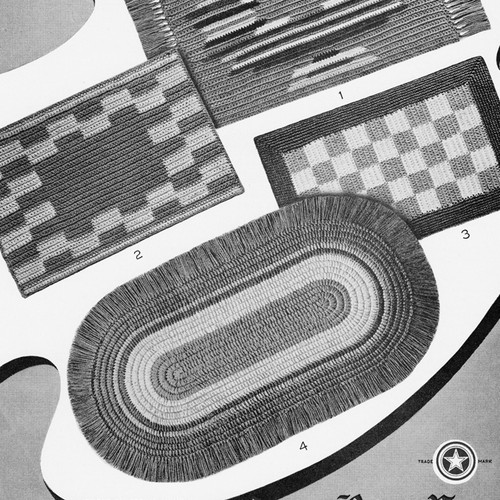 Oblong Checkerboard Area Rugs Pattern, Vintage 1950s